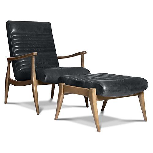 Erik Accent Chair & Ottoman Set, Charcoal