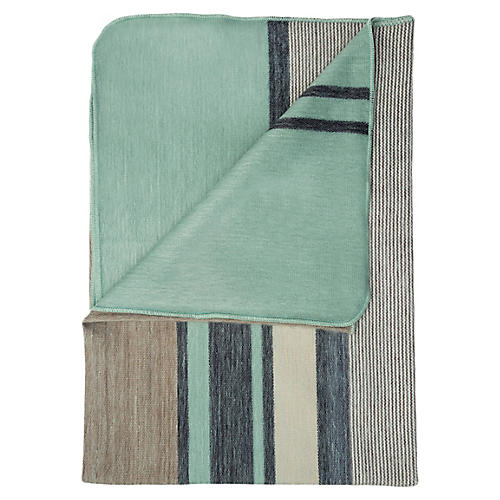 Seafoam Alpaca Throw, Green