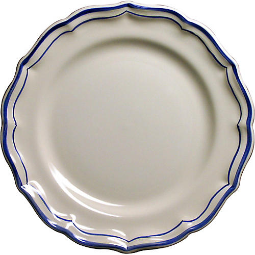 Fliet Bleu Dessert Plate, White/Blue