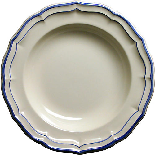 Fliet Bleu Soup Bowl, White/Blue