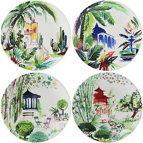 S/4 Jardins Canape Plates, White/Multi