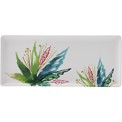 Jardins Oblong Serving Tray, White/Multi
