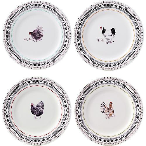 Asst. of 4 Coquette Dessert Plates, White/Multi