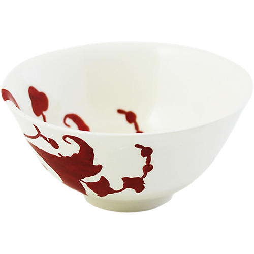 S/2 Garance Rice Bowl, White/Red