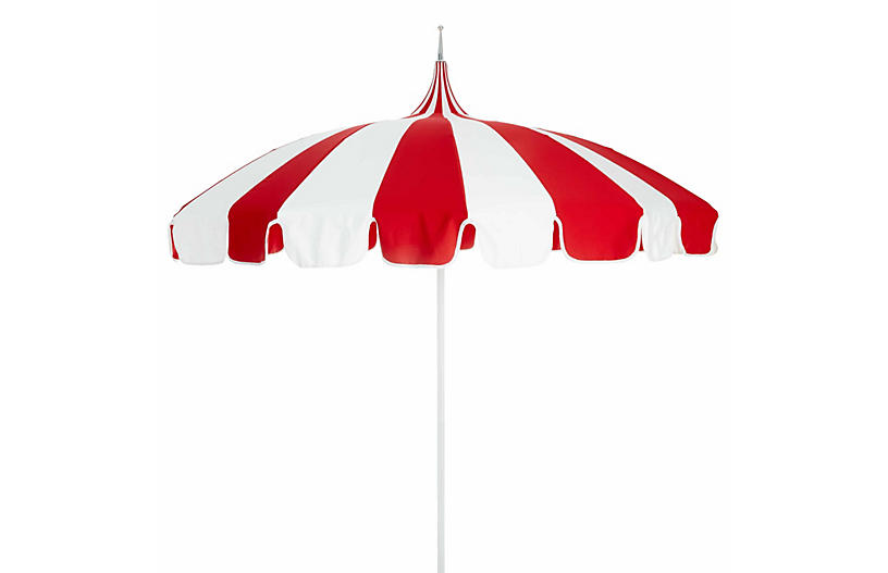Pagoda Patio Umbrella, Red/White