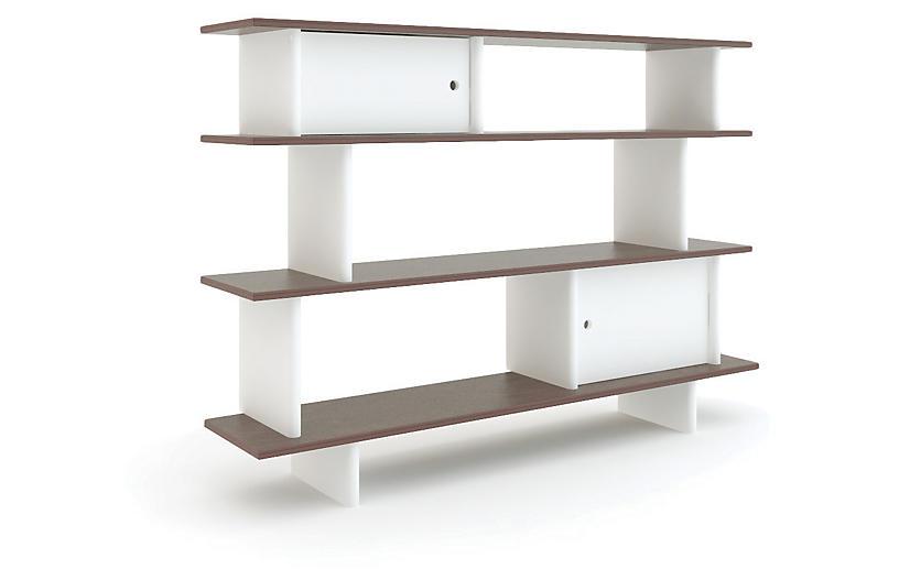 Mini Bookshelf, White/Walnut