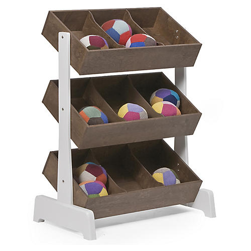 Toy Storage Unit, Walnut/White