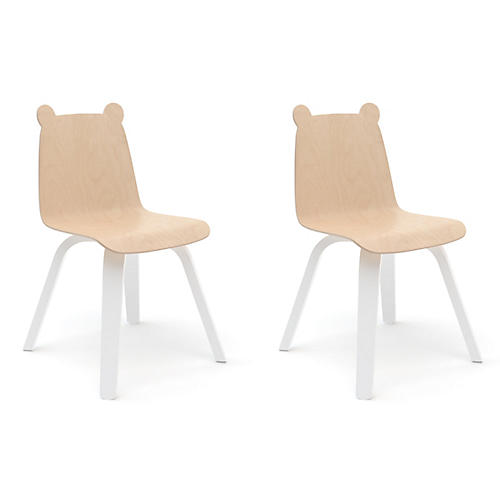 S/2 Bear Play Accent Chairs, Natural