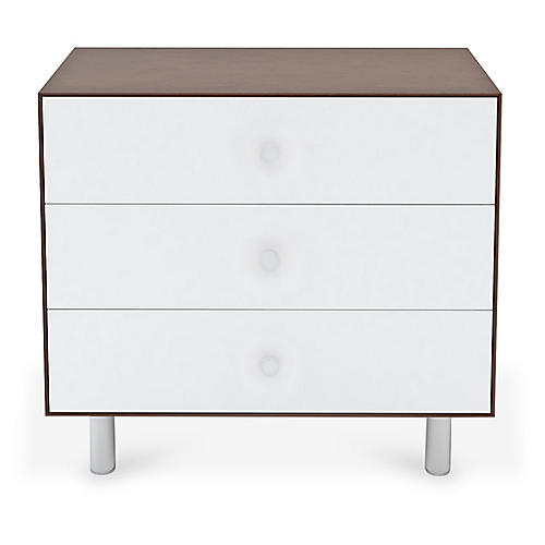 Classic 3-Drawer Dresser, White/Walnut