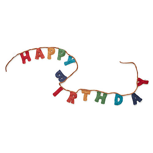 Happy Birthday Garland, Red/Multi