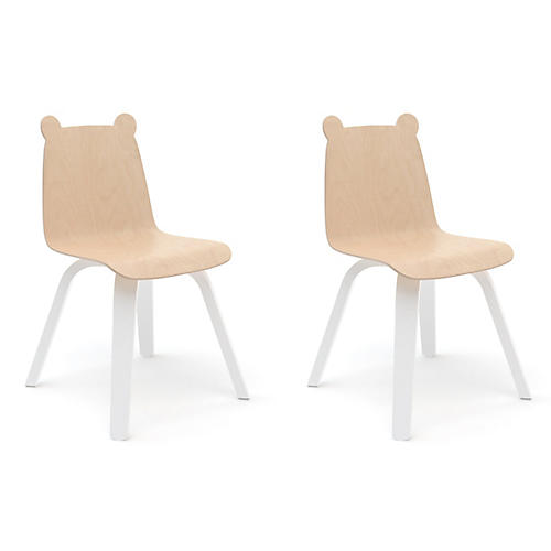 S/2 Bear Play Accent Chairs, Natural/White