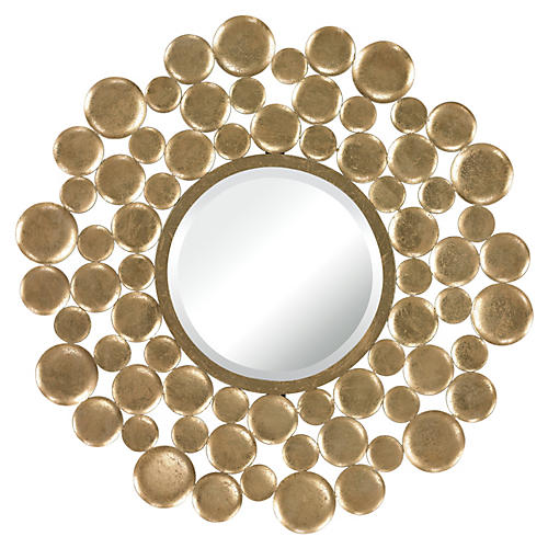 Bubbly Wall Mirror, Gold