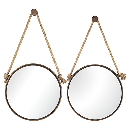 Pair of Round Wall Mirrors On Rope
