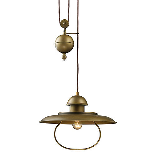Farmhouse Pulldown Pendant, Brass