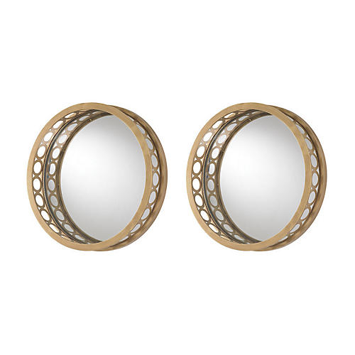 Raised Frame Accent Mirror Set, Gold