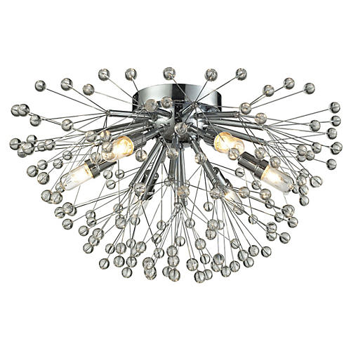6-Light Starburst Semi Flush, Chrome