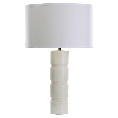 Marble Stacked Table Lamp, White