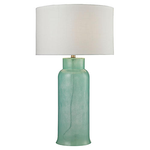 Glass Bottle Table Lamp, Seafoam