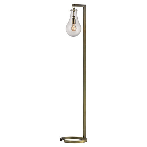 Metal Floor Lamp, Antiqued Brass