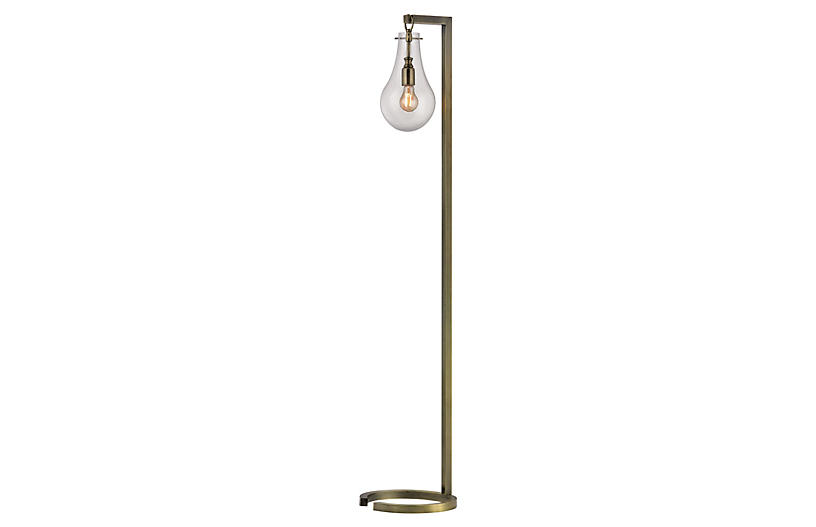 Metal Floor Lamp, Antiqued Brass