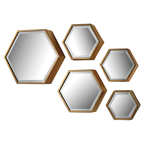 S/5 Harold Mirrors, Gold