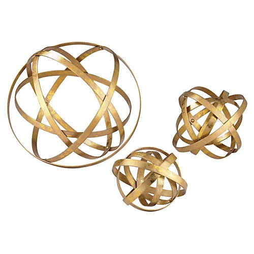 S/3 Open Structure Metal Orbs, Gold