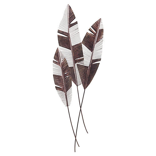 Martinique Leaf Wall Feathers, Bronze