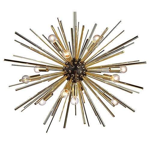 Starburst 12-Light Pendant, Gold
