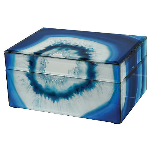 Marara Jewelry Box, Blue/White