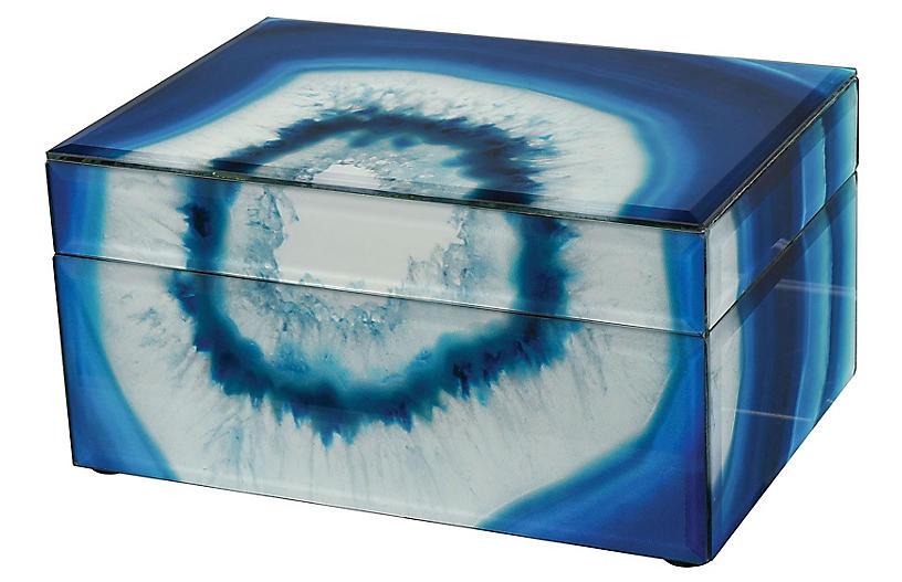 Marara Jewelry Box, Blue/White