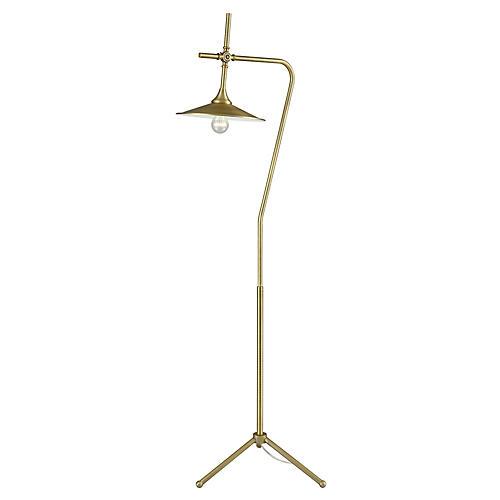 Goddard Floor Lamp, Aged Brass