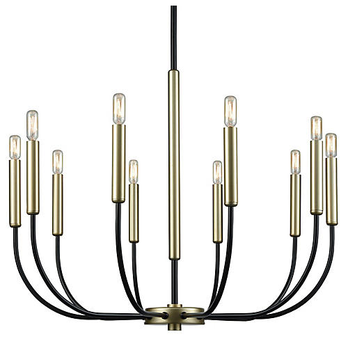 Rhodes 10-Light Chandelier, Black/Soft Gold