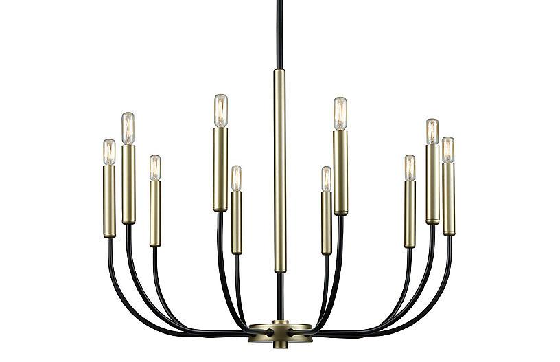 Rhodes 10-Light Chandelier, Black/Soft Gold
