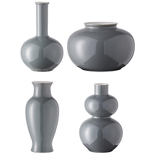 Asst. of 4 Kyra Mini Vases, Steel Gray