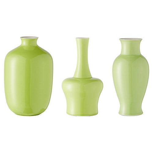 Asst. of 3 Kyra Mini Vases, Apple Green