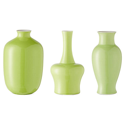Asst. of 3 Kyra Mini Vases, Apple Green