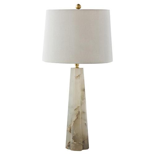 Alabaster Quatrefoil Lamp, Natural