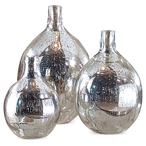 Antiqued Mirror Glass Spheres, S/3