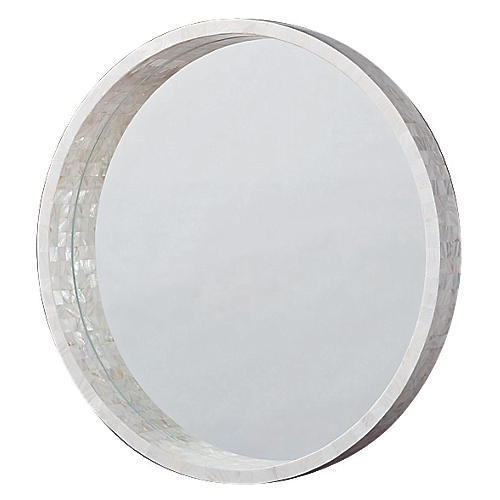 "Medium 30"" Mother of Pearl Mirror"
