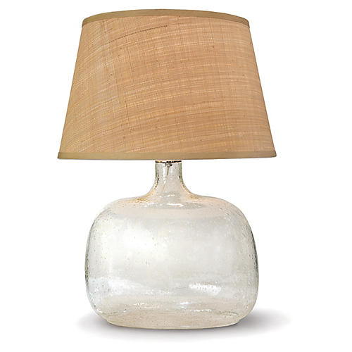 Seeded Oval Table Lamp, Glass