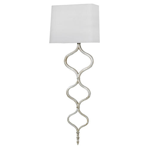 Sinuous Metal Sconce, Silver Leaf