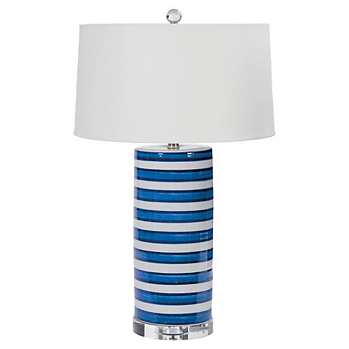 Striped Column Lamp, Hand Dipped Ceramic