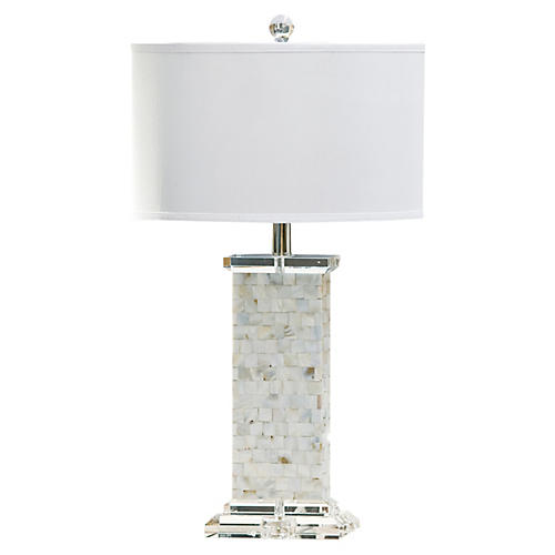 Mother-of-Pearl Column Lamp, Resin