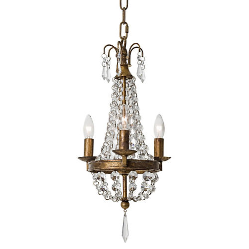 4-Light Paris Chandelier, Bright Crystal