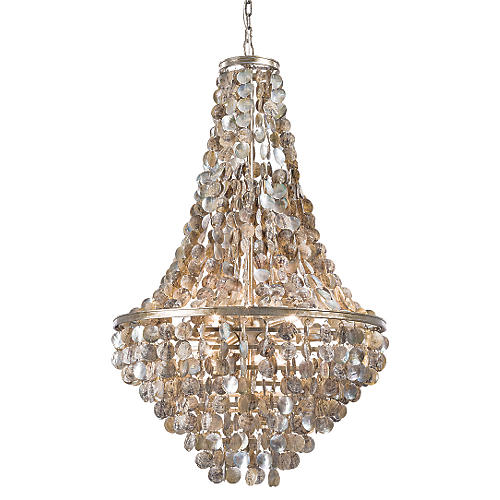 Capri Shell Chandelier, Gold