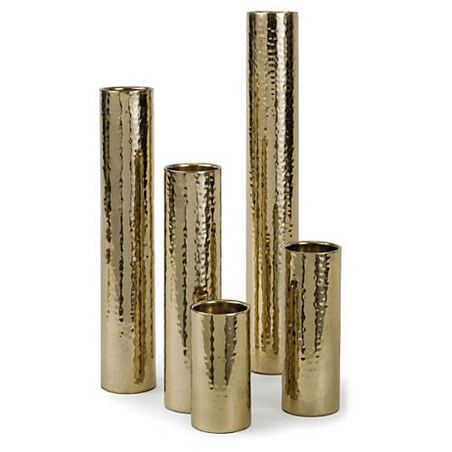 Asst. of 5 Hammered Bud Vases, Gold