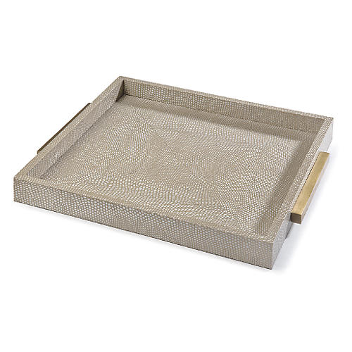 "13"" Python-Style Boutique Tray, Ivory"