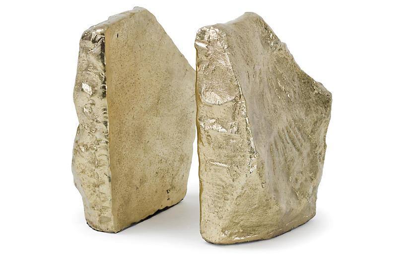 Gold-Tone Aluminum Bookends, Pair