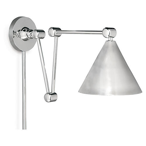 Plug-In Zig-Zag Wall Sconce, Nickel