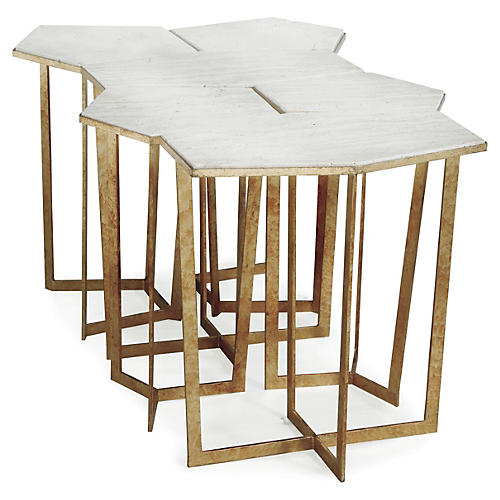 S/6 Travertine Puzzle Nesting Tables, Gold/White